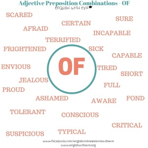 Adjective +Prepositions Combinations - OF